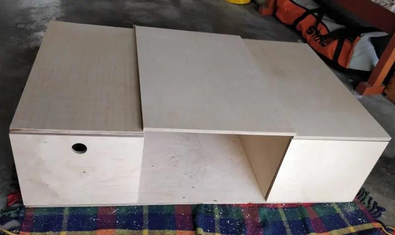 Bodenplatte linker und rechter Auszug mit Deckel