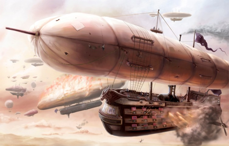 a steampunk airship battle