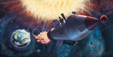 A retro style rocket blasts off