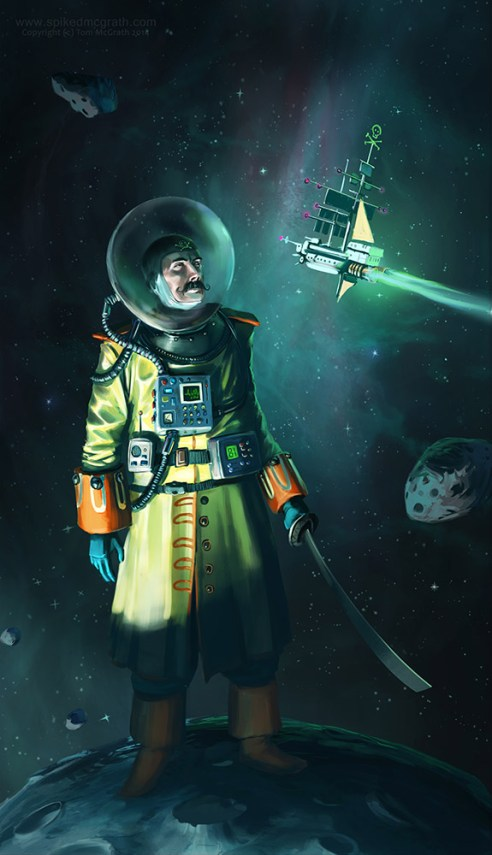 space pirate on asteroid