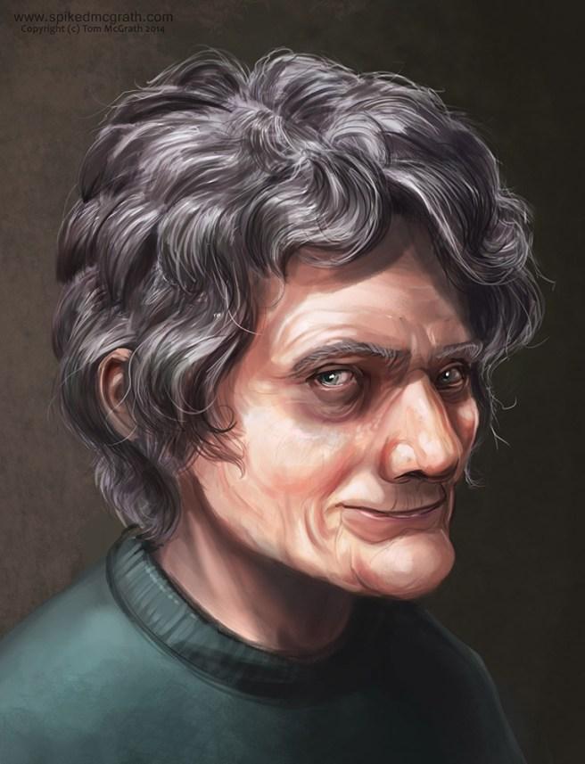 A digital portrait of an old lady
