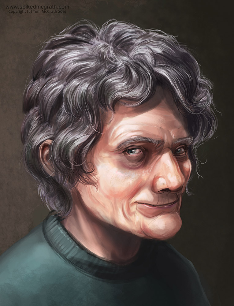 A digital portrait of an old lady