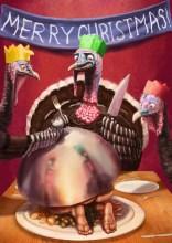 Turkeys enjoy Christmas dinner