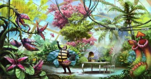 A man in a bee suit lovingly attends to to his plants