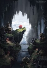 A town built in a dark cave