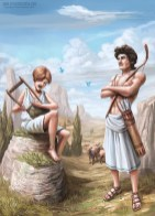 The Greek gods Hermes and Apollo