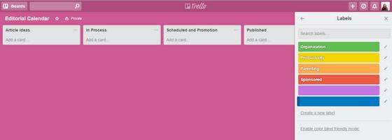 Trello Editorial Calendar Labels