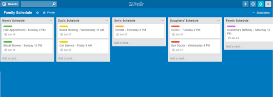 Trello Family Schedule with Due Dates Board Mode