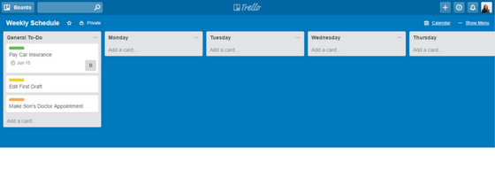 Trello Weekly Schedule with Days