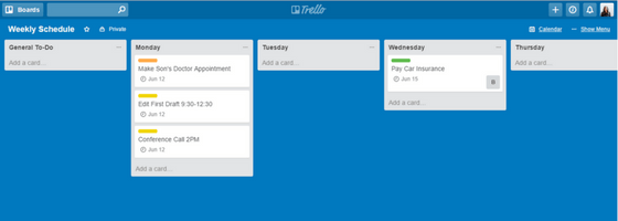 Trello Weekly Schedule with Times Board Mode