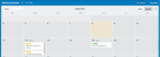 Trello Weekly Schedule with Times Calendar Mode