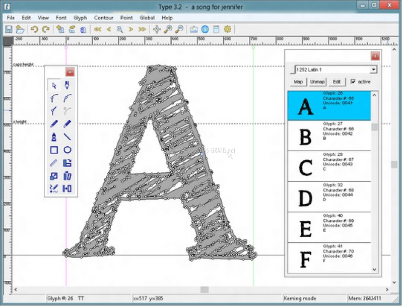 Typelight - a freeware font editor