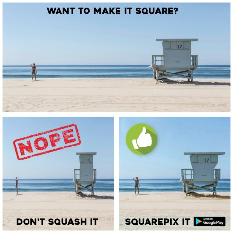 SQUAREPIX seam carving app to turn any photo square with cropping and no side bars