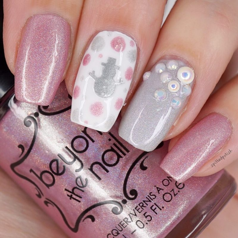 Silver and Pink Snowman Nails
