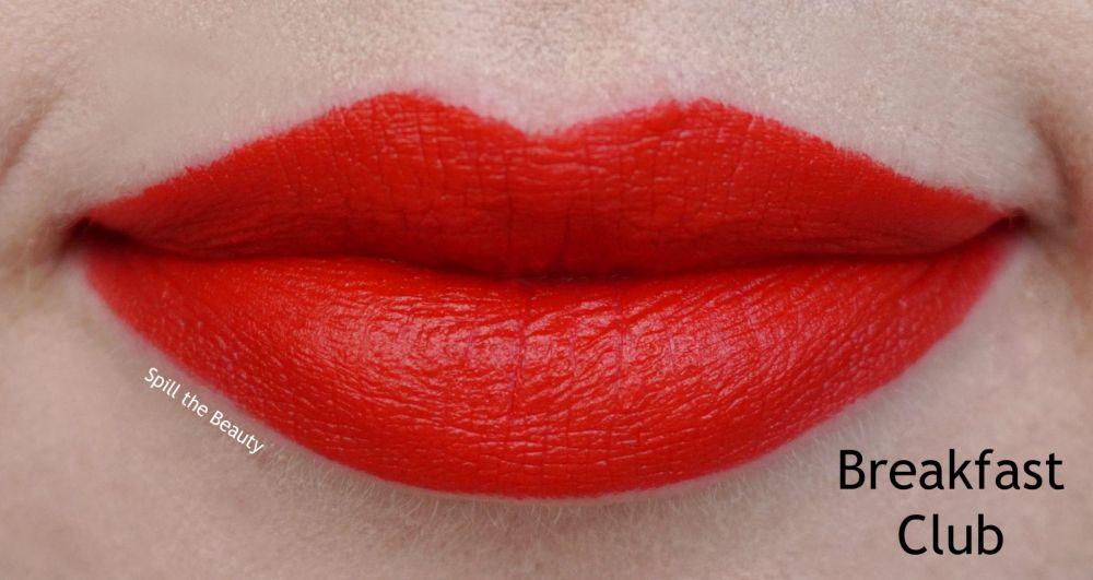 too faced peach kiss moisture matte long wear lipstick swatches review breakfast club