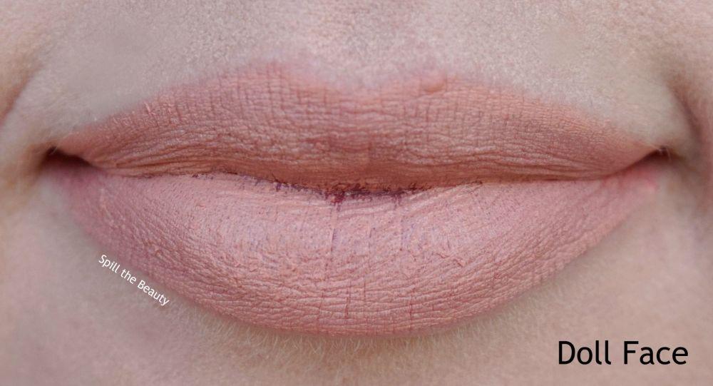 too faced peach kiss moisture matte long wear lipstick swatches review doll face