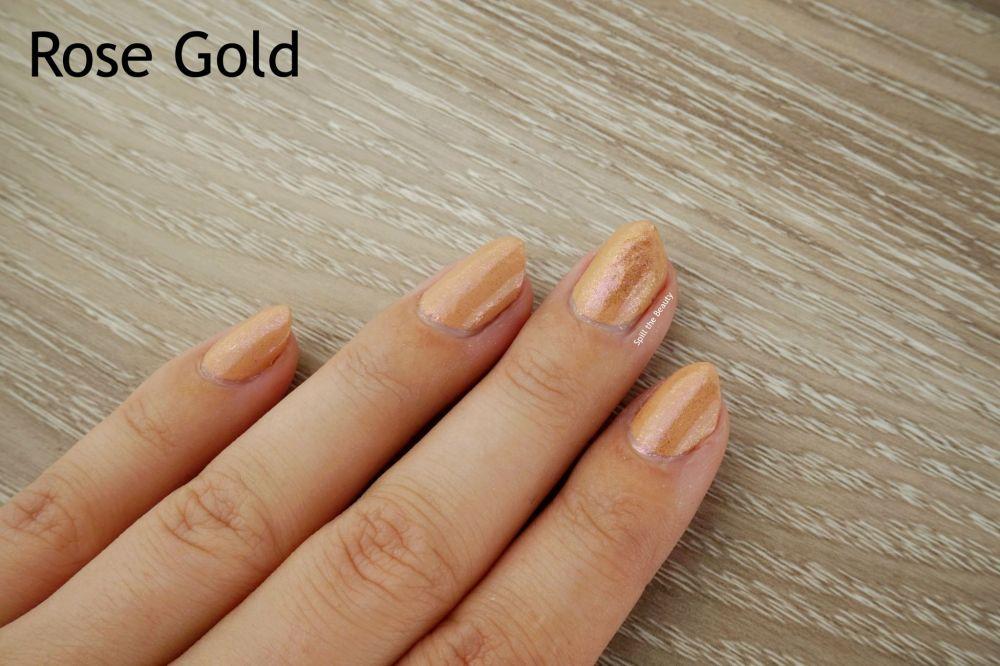 Sally Hansen Chrome Kit review swatches rose gold kit
