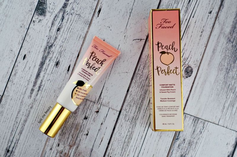 too faced peach perfect comfort matte foundation review swatches before and after snow porcelain