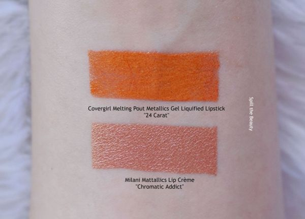 covergirl melting pout metallics gel liquid lipstick swatches comparison dupe milani