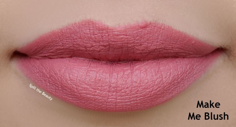 too faced peaches and cream moisture matte lipstick review swatches make me blush
