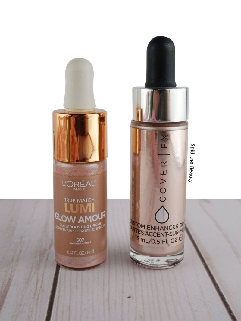 comparison dupe loreal true match lumi highlighting drops daybreak cover fx custom enhancer drops celestial swatches