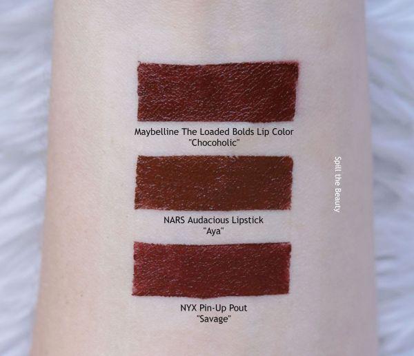 lip swatch nars audacious lipstick aya comparison dupe