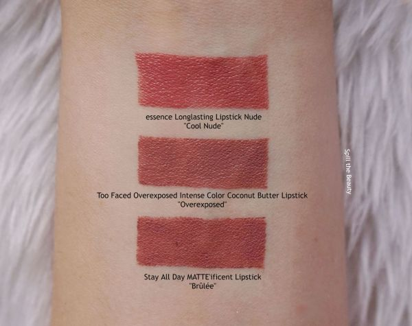 too faced overexposed swatches comparison dupe