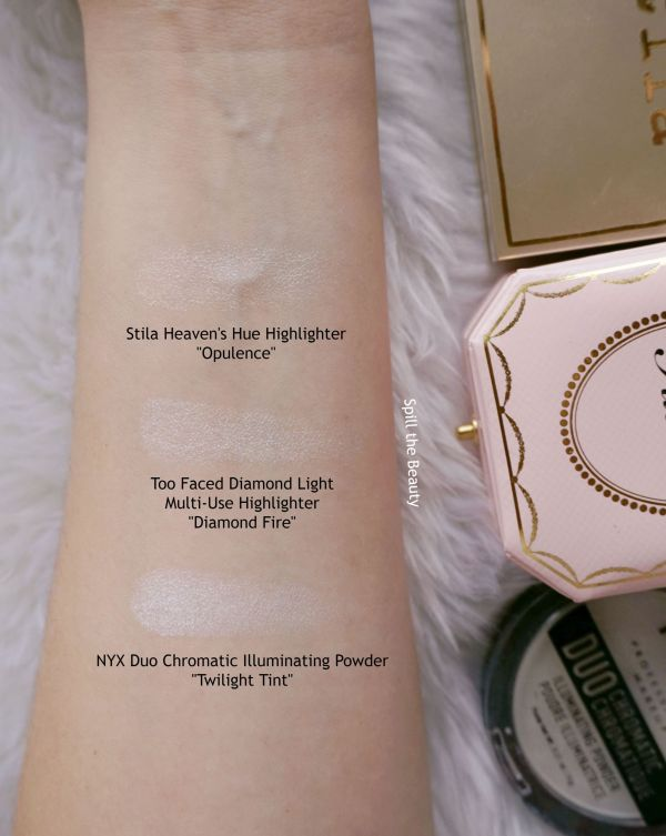 too faced diamond fire highlighter review swatches comparison