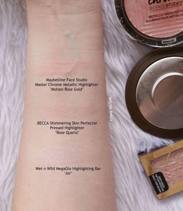 becca rose quartz highlighter review swatches comparison drugstore dupe