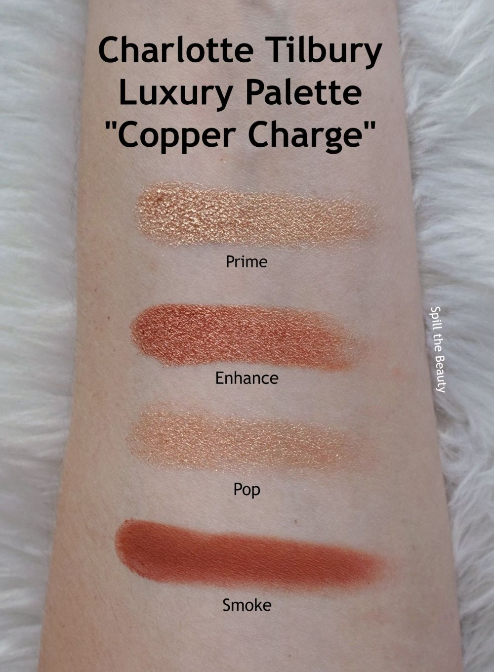 charlotte tilbury copper charge swatches