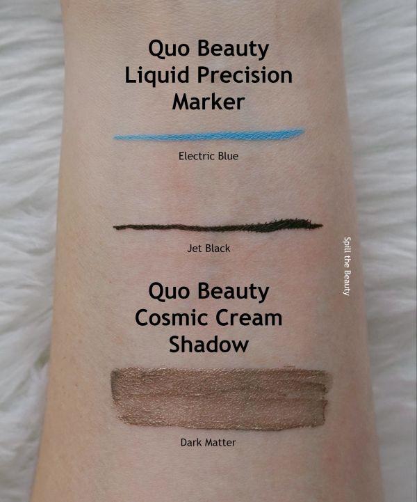 quo beauty swatches liquid liner cosmic cream shadow