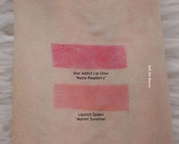 dior lip glow matte raspberry swatch lipstick queen mornin sunshine
