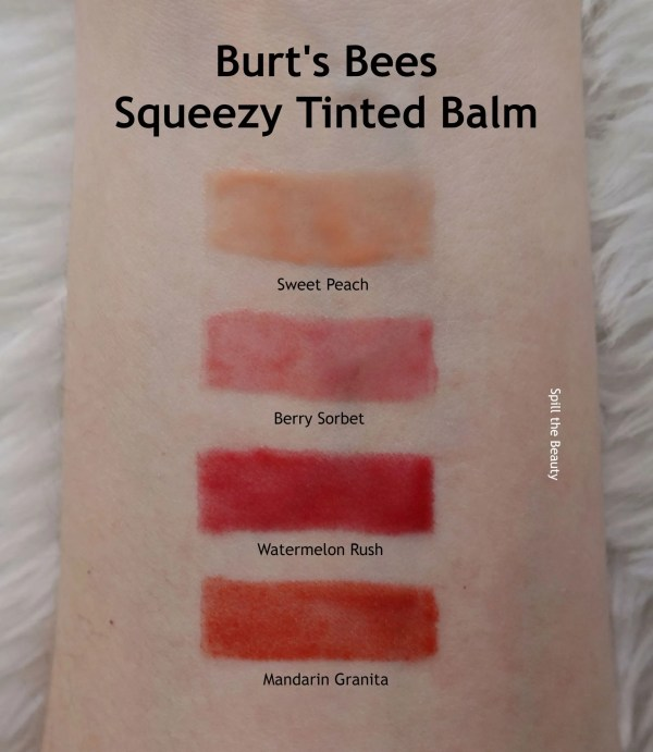 burts bees squeezy balm swatches