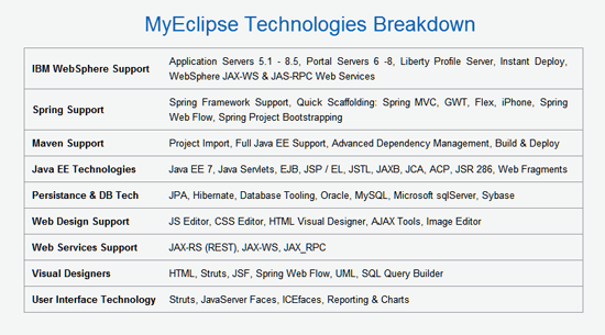 MyEclipse Technologies Breakdown