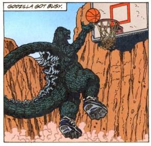 Godzilla Slam Dunking a Basketball