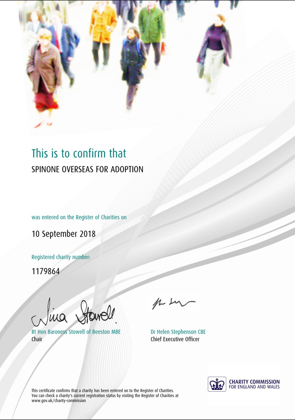 Our new charity certificate
