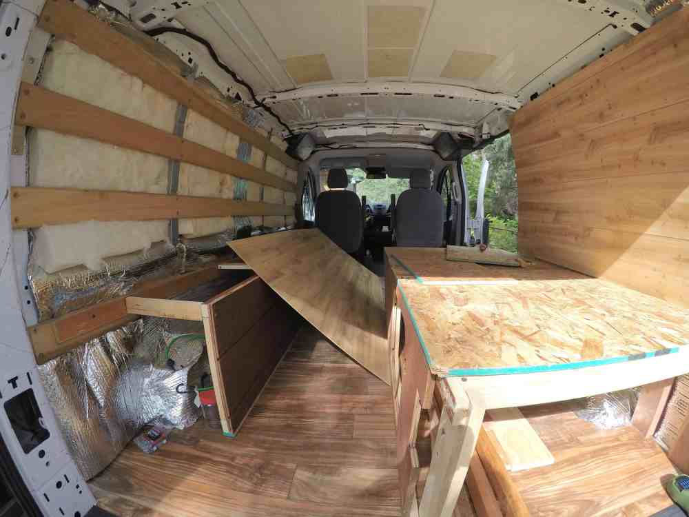medium resolution of the chuck box is not a permanent fixture in the van which was a part of the design so after we created the bedframe and side storage unit