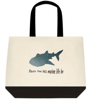 whale shark tote bag plastic free lets marine life be