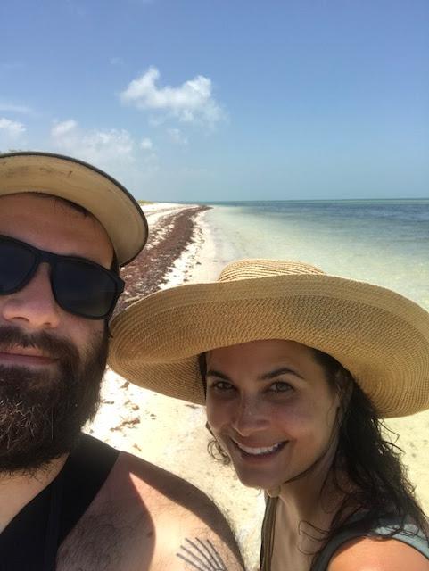 Couple on beach in Isla Holbox Mexico