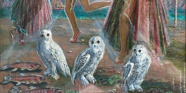 Detail from Three Women and Three Owls, ca. 1948, Juanita Guccione, courtesy of Weinstein Gallery