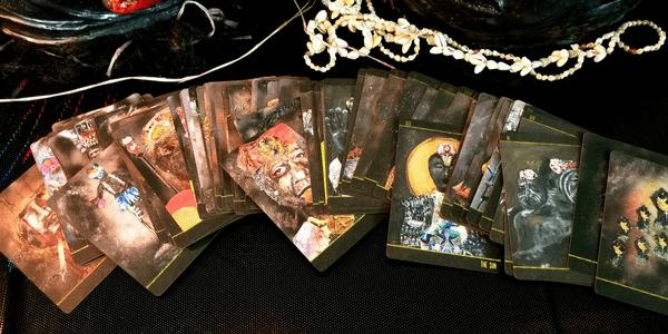 Dust II Onyx, by Courtney Alexander, spread of cards