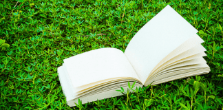 Open blank book on the grass, photo by auimeesri