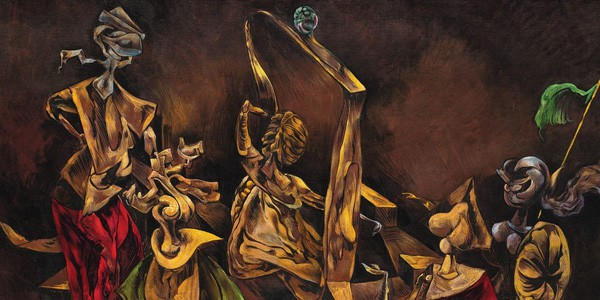 Detail from Sabbath Phantoms (Mythomania), ca. 1945, from Kurt Seligmann, courtesy of Weinstein Gallery