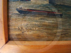 AR Woods signature on the painting of Tower Bridge