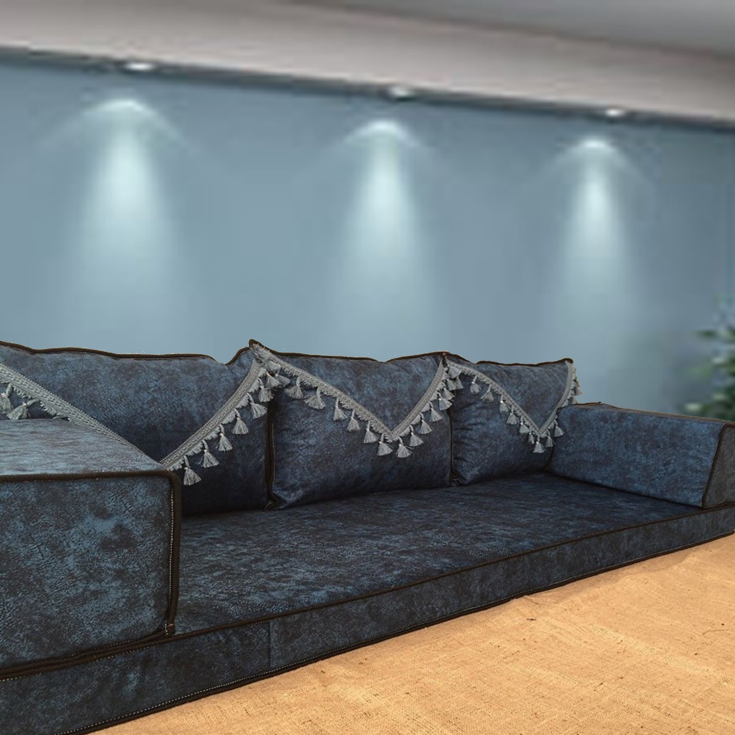 floor sofa with triple back pillows shi fs374