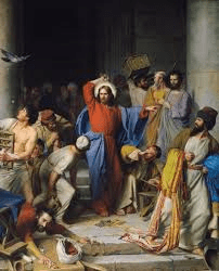 Jesus throws money changers from temple