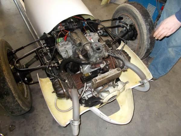 Moteur en place avec turbine.