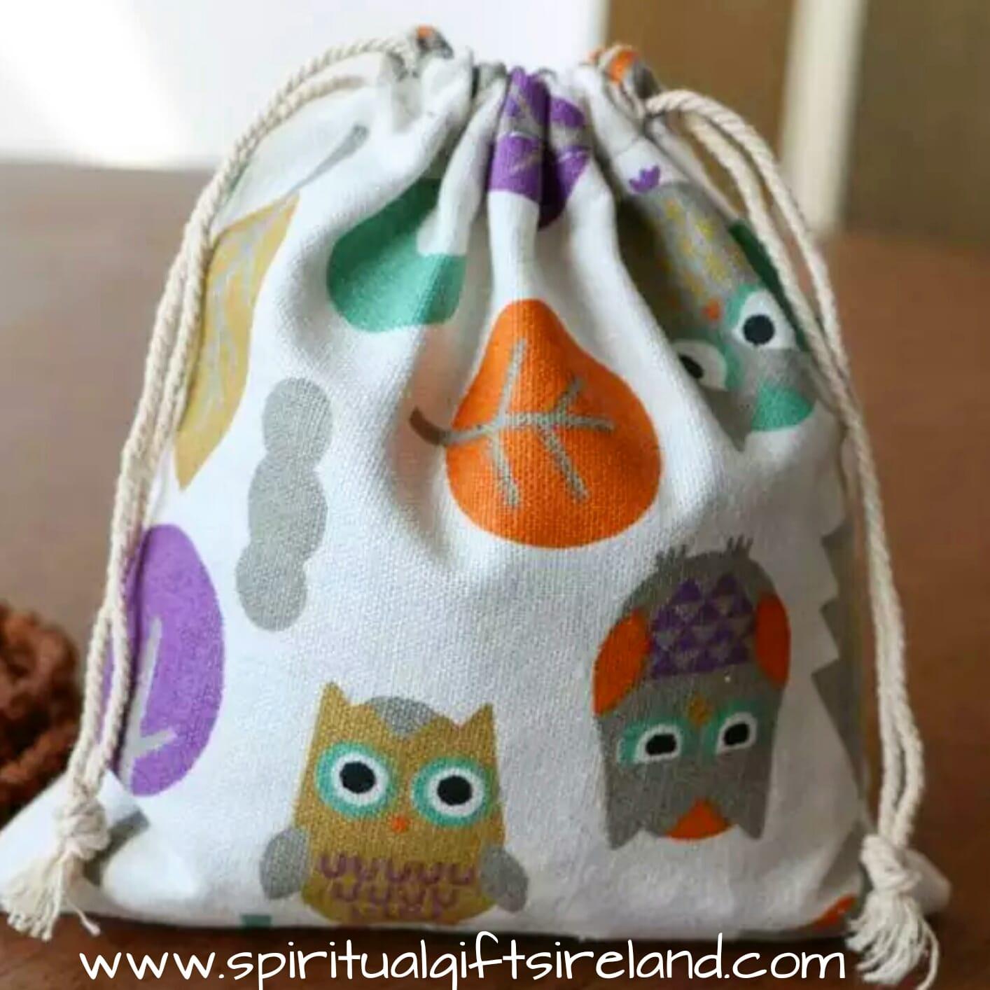 owl print cotton drawstring