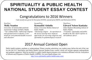winners in the media  spirituality  public health essay contest site the three fall  contest winners link were congratulated both on this  website and in the novdec  convention issue of the nations health