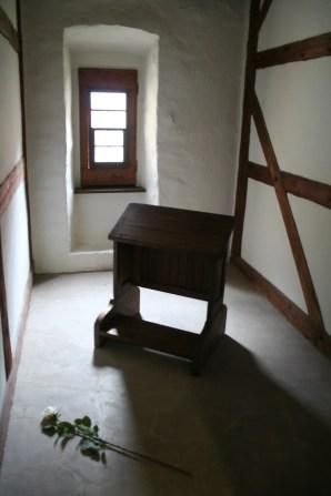 kneeler desk in monastery